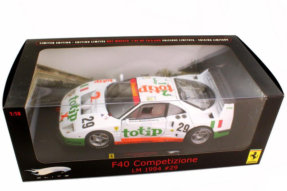 Foto 1:18 Ferrari F40 Competizione 24h von Le Mans 1994 Strandell Obermaier Racing totip Nr.29 Olofsson Angelastri Della Noce - Elite P9921