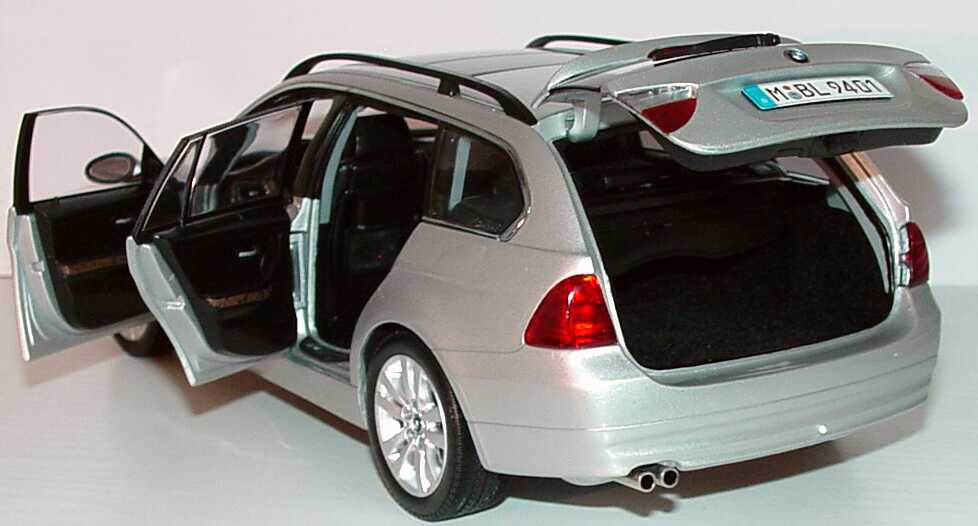 Foto 1:18 BMW 3er touring (E91) titaniumsilber-met. Werbemodell Kyosho 80430394360