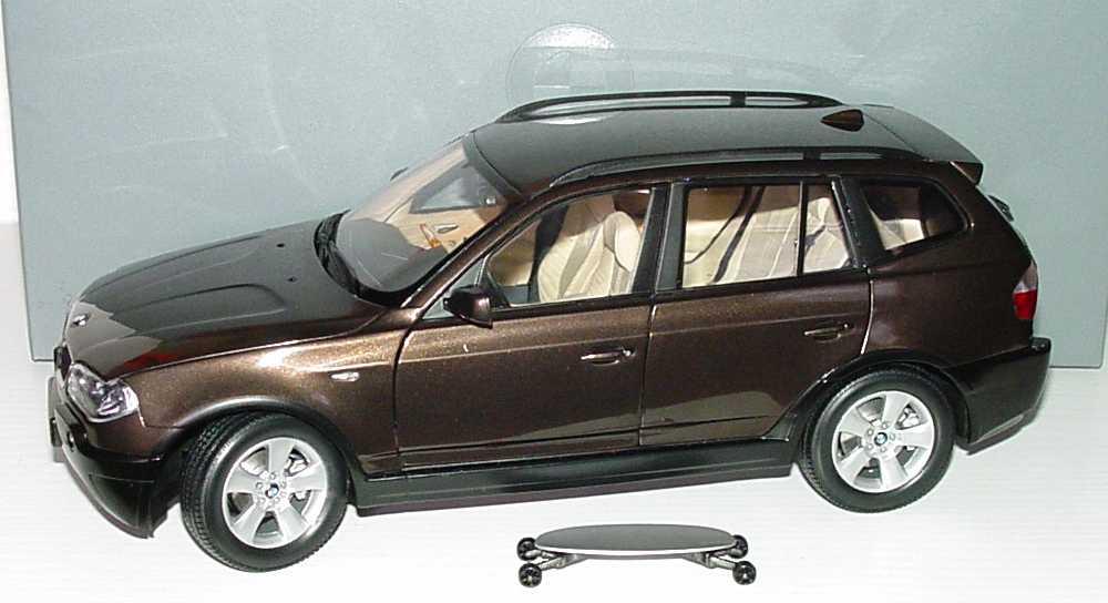 1 18 bmw x3 mokkabraun met werbemodell kyosho 80430300736. Black Bedroom Furniture Sets. Home Design Ideas