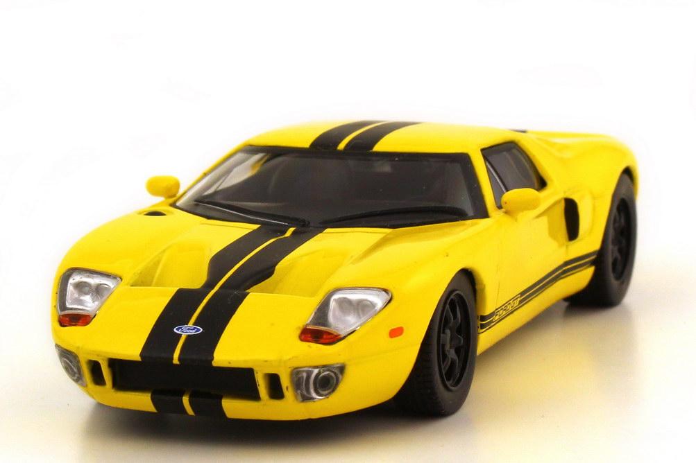1:43 Ford GT 2008 gelb mit schwarzen Racing-Streifen