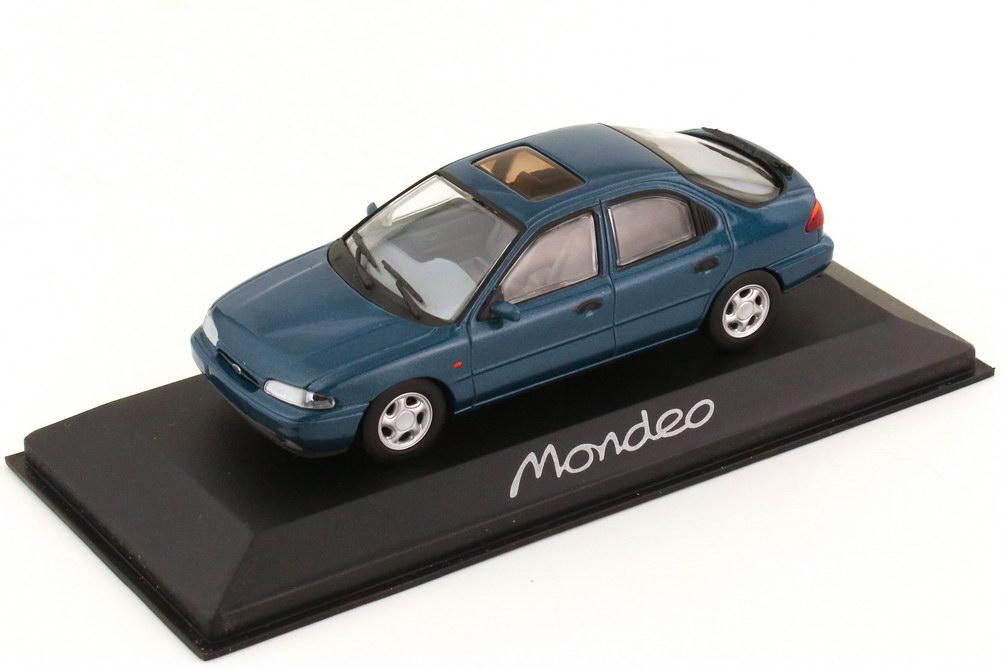 Foto 1:43 Ford Mondeo Fließheck 1992 (MK1) lagunen-blau-met. Werbemodell Minichamps
