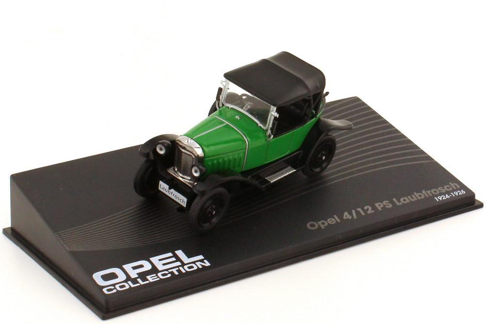 1:43 Opel 4/12 PS Laubfrosch grün/schwarz (oU)