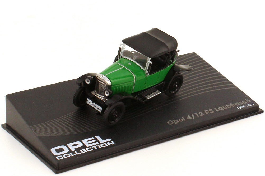 Foto 1:43 Opel 4 12 PS Laubfrosch grün schwarz - Ixo Altaya Opel Collection 22