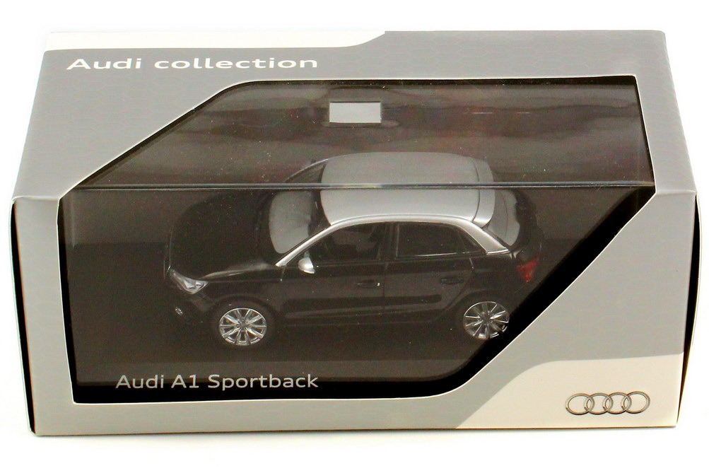 1 43 audi a1 sportback phantom black ice silver black silver dealer oem ebay. Black Bedroom Furniture Sets. Home Design Ideas