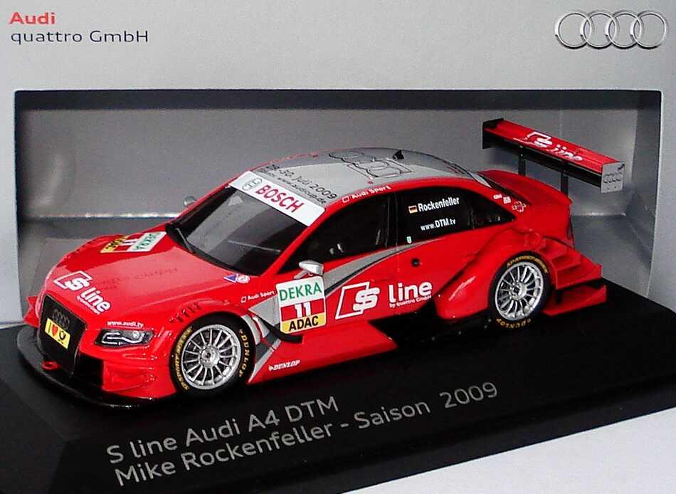 """1:43 Audi A4 DTM 2009 (Modell 2008) """"Rosberg, Audi S-Line"""" Nr.11, Mike Rockenfeller (Audi)"""