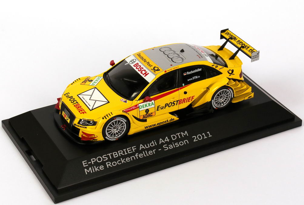 "1:43 Audi A4 DTM 2011 ""Abt, e-Post-Brief"" Nr.9, Mike Rockenfeller (Audi)"