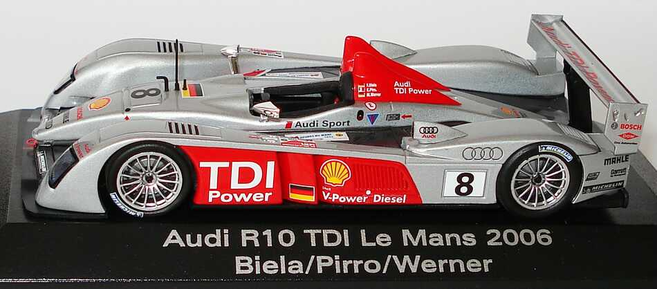 audi r10 tdi 24h von le mans 2006 nr 8 biela pirro werner werbemodell siegerfahrzeug minichamps. Black Bedroom Furniture Sets. Home Design Ideas
