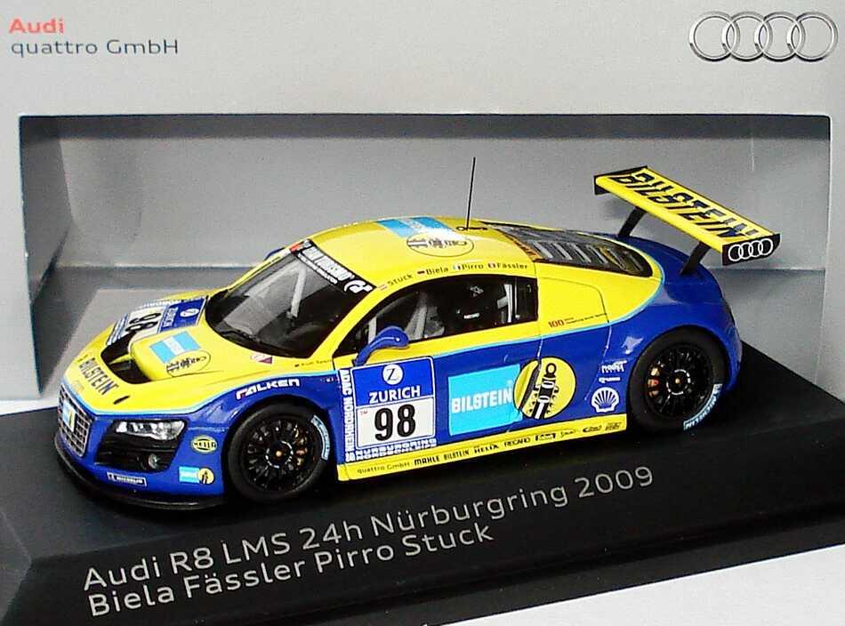 "1:43 Audi R8 LMS 24 Stundenrennen Nürburgring 2009 ""Phoenix Racing, Bilstein"" Nr.98 Stuck / Biela / Pirro / Fässler (Audi)"