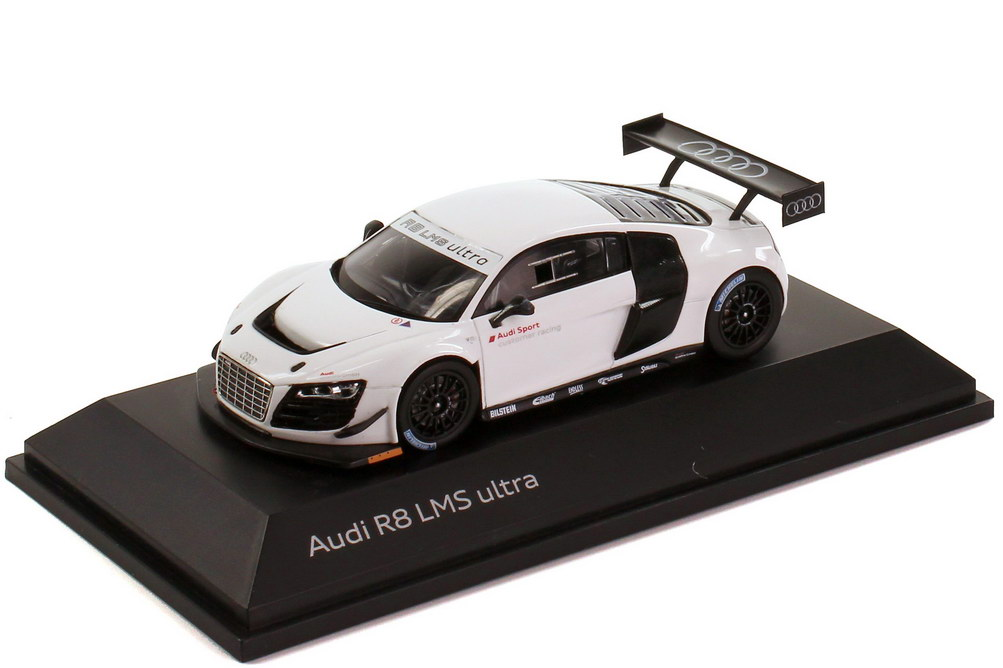 1 43 audi r8 lms ultra wei audi sport customer racing werbemodell spark 5021200313. Black Bedroom Furniture Sets. Home Design Ideas