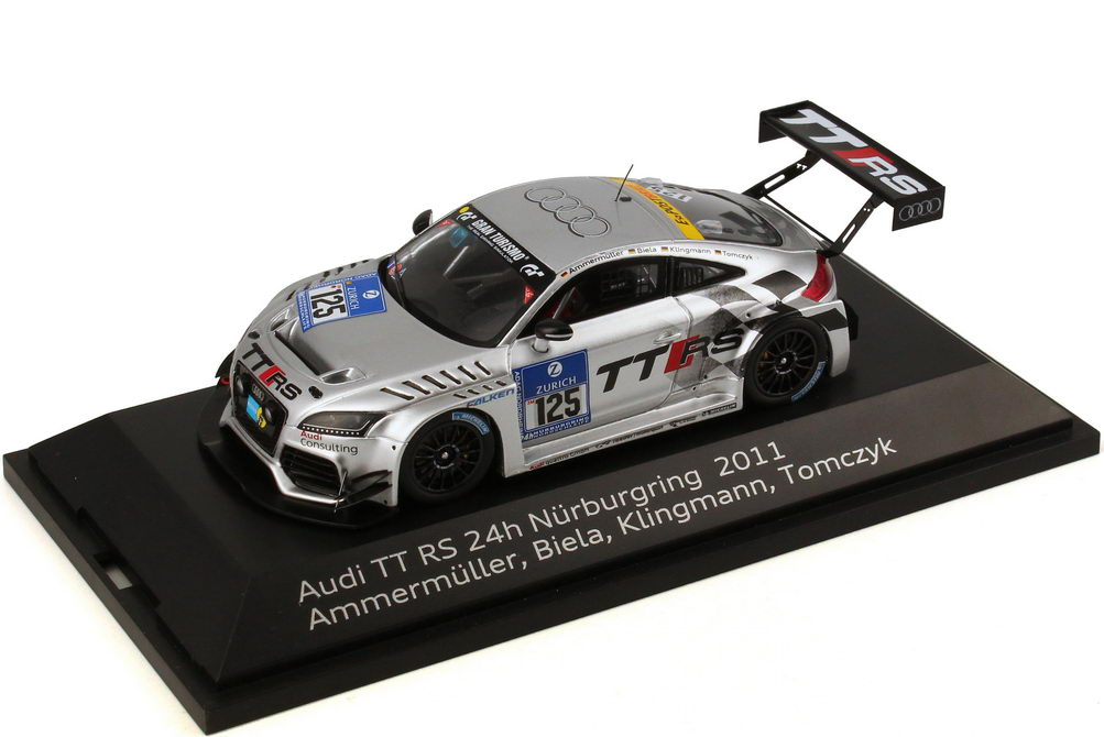 """1:43 Audi TT RS 24 Stundenrennen Nürburgring 2011 """"Raeder, TT RS"""" Nr.125, Ammermüller / Biela / Klingmann / Tomczyk (Audi)"""