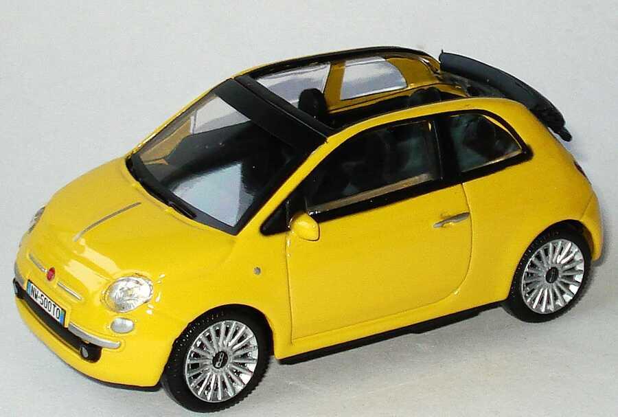 1 43 fiat 500c cabrio 2009 gelb mondo motors 53 126. Black Bedroom Furniture Sets. Home Design Ideas