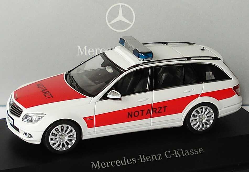 "1:43 Mercedes-Benz C-Klasse T-Modell Elegance (S204) NEF ""Notarzt"" weiß/rot (MB)"