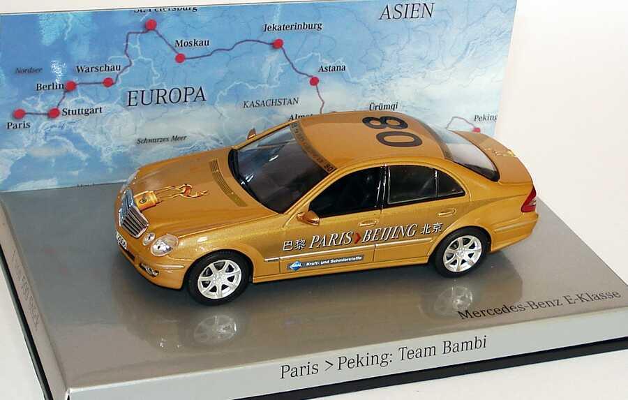 "1:43 Mercedes-Benz E-Klasse Facelift (W211) Rallye Paris-Peking ""Team Bambi"" Nr.08 (MB)"