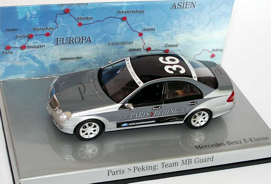 "1:43 Mercedes-Benz E-Klasse Facelift (W211) Rallye Paris-Peking ""Team Mercedes-Benz Guard"" Nr.36 (MB)"