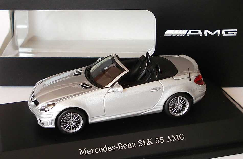 1 43 mercedes benz slk 55 amg 2008 r171 mopf iridiumsilber silber silver dealer ebay. Black Bedroom Furniture Sets. Home Design Ideas