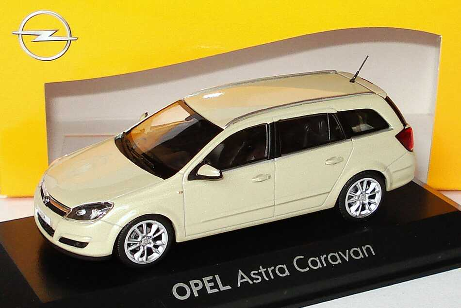 1 43 opel astra h caravan pannacotta met werbemodell minichamps 91631751799098. Black Bedroom Furniture Sets. Home Design Ideas