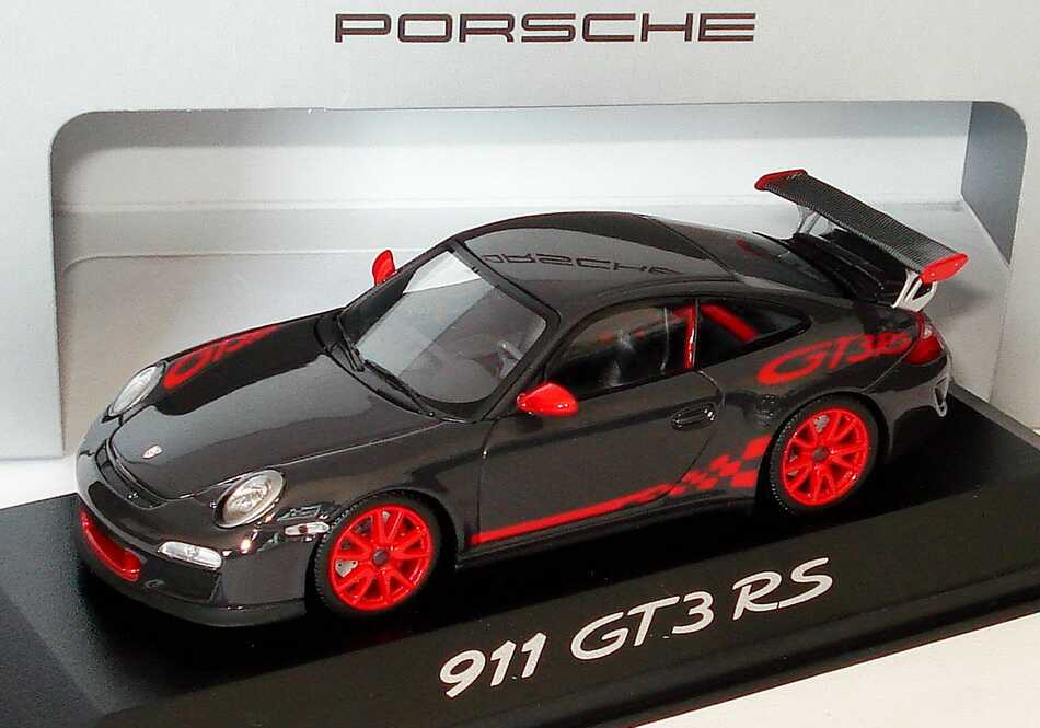 1 43 porsche 911 gt3 rs 997 modell 2009 grauschwarz rot. Black Bedroom Furniture Sets. Home Design Ideas