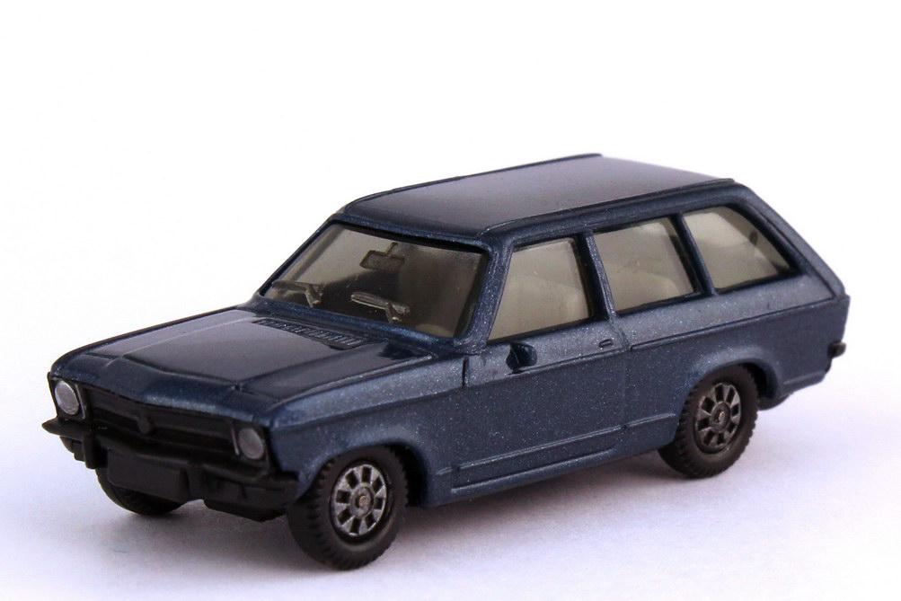 1:87 Opel Ascona A Voyage blau-met., IA grau, Scheinwerfer und Rückleuchten bedruckt (oV)