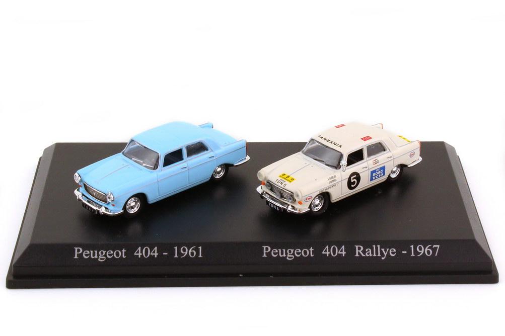 1:87 Set-Packung Peugeot 404 blau + East African Safari Rallye 1967 Nr.5