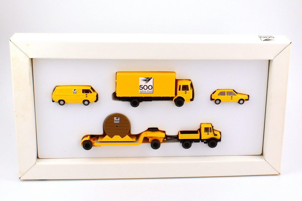 Foto 1:87 Setpackung 500 Jahre Post VW T3 + MAN F8 + VW Golf II + Unimog Kabelrollentransport - Wiking