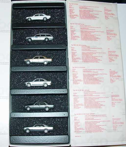 1:87 100 Jahre Automobil Daimler Benz 1886-1986 (190E weiß, 300TE silbermet., 300E goldmet., 190E 2.3-16 silbermet., 500SE facelift graumet., 560SEC silbermet.) (MB)