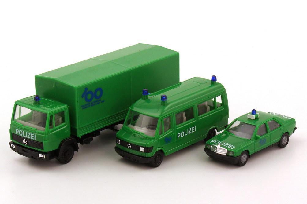 1:87 100 Jahre Automobil Daimler Benz 1886-1986 (Polizei-Fahrzeuge 190E, 207D Bus, LN2 814 PP) (MB) (m)