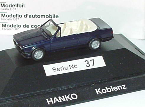 1 87 bmw 325i cabrio e30 dunkelblau met hanko koblenz werbemodell herpa. Black Bedroom Furniture Sets. Home Design Ideas