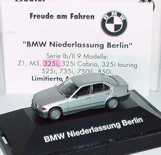 1 87 bmw 325i e36 silber met bmw niederlassung berlin mit zertifikat werbemodell herpa. Black Bedroom Furniture Sets. Home Design Ideas