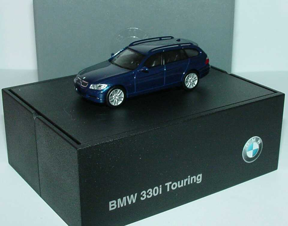 Foto 1:87 BMW 3er touring (E91) mysticblau-met. Werbemodell herpa 80410394353
