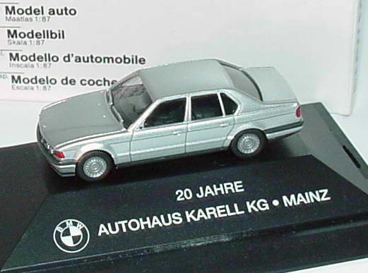 1 87 bmw 735i e32 silber met 20 jahre autohaus karell kg mainz werbemodell herpa. Black Bedroom Furniture Sets. Home Design Ideas