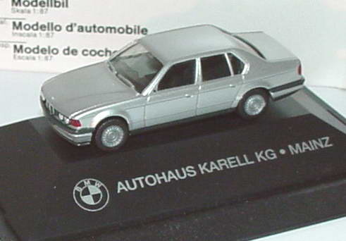 1 87 bmw 735i e32 silber met autohaus karell kg mainz werbemodell herpa. Black Bedroom Furniture Sets. Home Design Ideas
