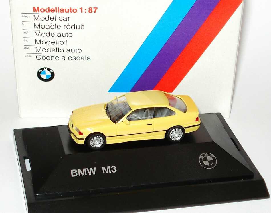 Foto 1:87 BMW M3 Coupé (E36) gelb Werbemodell herpa 82229417308