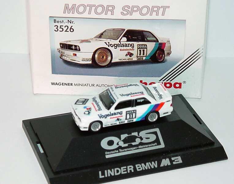 """1:87 BMW M3 (E30) DTM 1990 """"Linder, Vogelsang"""" Nr.11, Heger"""