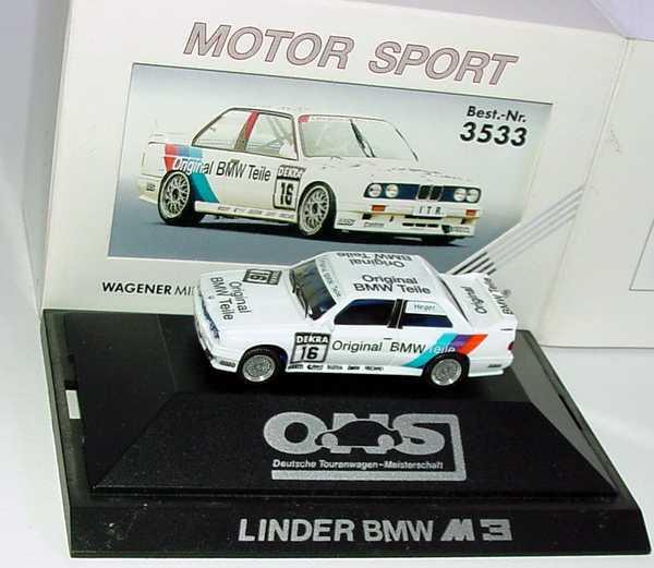 """1:87 BMW M3 (E30) DTM 1991 """"Linder, Original BMW Teile"""" Nr.16, Heger"""