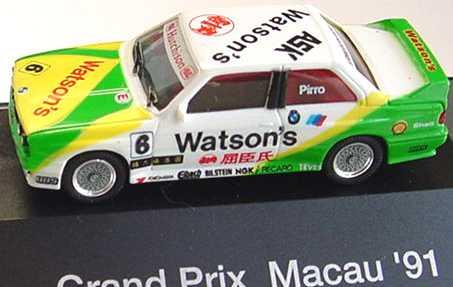 """1:87 BMW M3 (E30) """"Schnitzer, Watson´s"""" Nr.6, Pirro (GP Macau ´91)"""