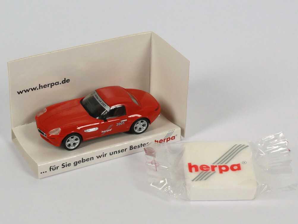 """1:87 BMW Z8 rot mit Hardtop """"18. Herpa IAA 2001, ... für Sie geben wir unser Bestes"""" (mit Traubenzucker)"""