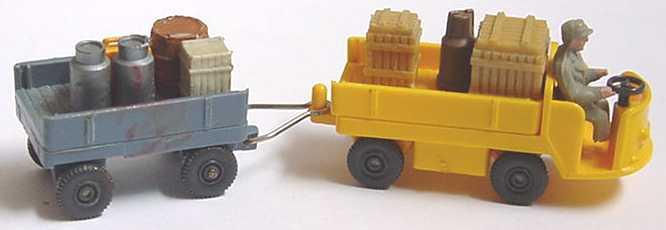 Foto 1:87 Gepäckwagen mit Hänger gelb/grau (Mängel?) Wiking