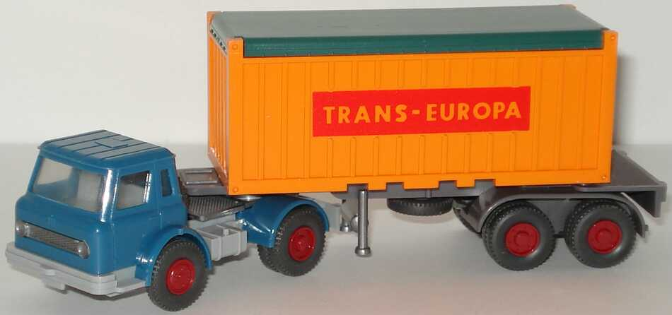 Foto 1:87 International Harvester CargoStar 20 Open-Top-ContainerSzg 2/2 Trans-Europa, Fh, capriblau Wiking