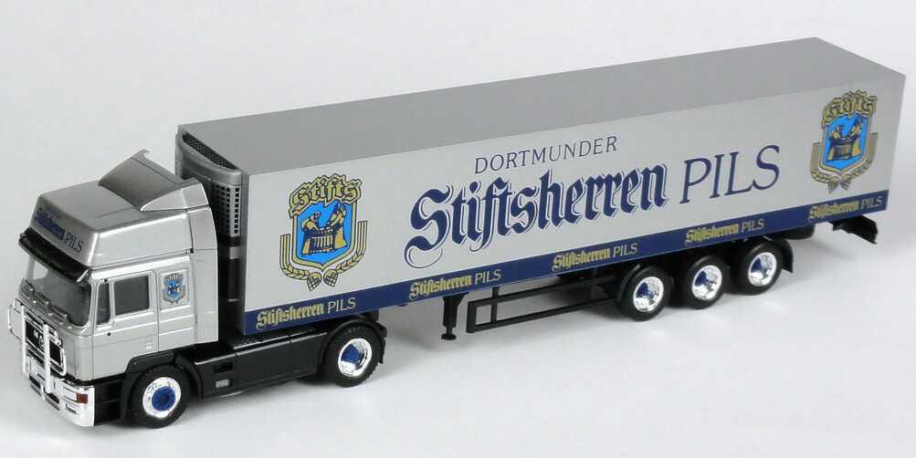 Foto 1:87 MAN F2000 Hochdach Kühlkoffer-Sattelzug Dortmunder Stiftsherren Pils - herpa