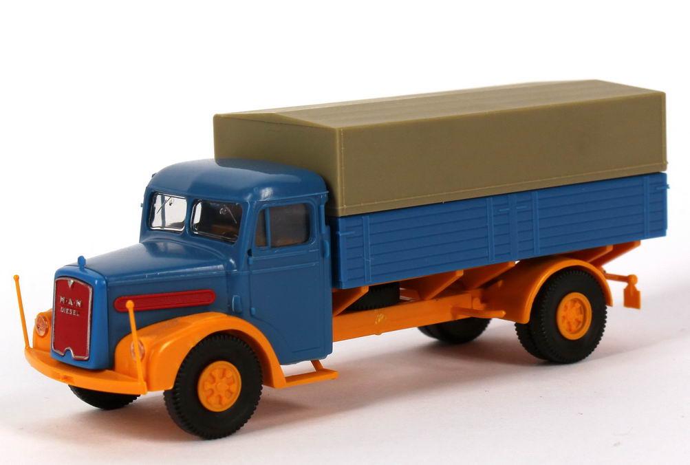 1 87 man f8 hauber 2a pritsche plane lkw blau gelb brekina. Black Bedroom Furniture Sets. Home Design Ideas
