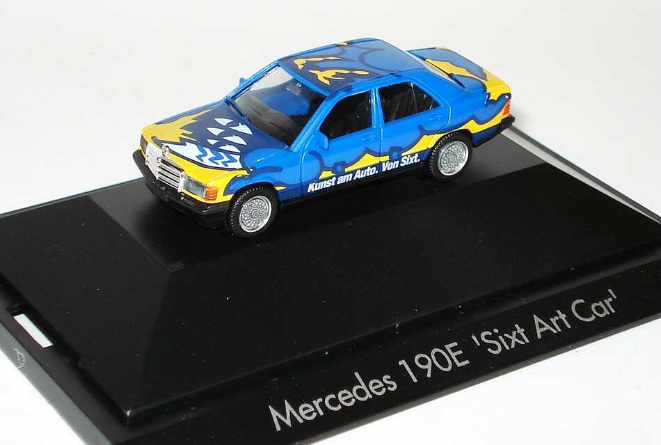 """1:87 Mercedes-Benz 190E """"Sixt Art Car"""" blau/gelb"""