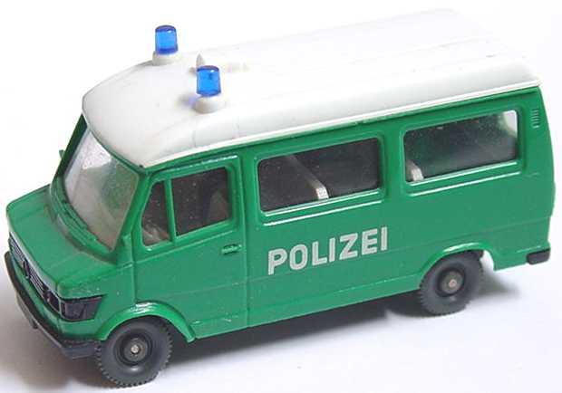 Mercedes 207 Polizei Wiking Blaulicht selbstblinkend LED Spur H0 PKW Auto