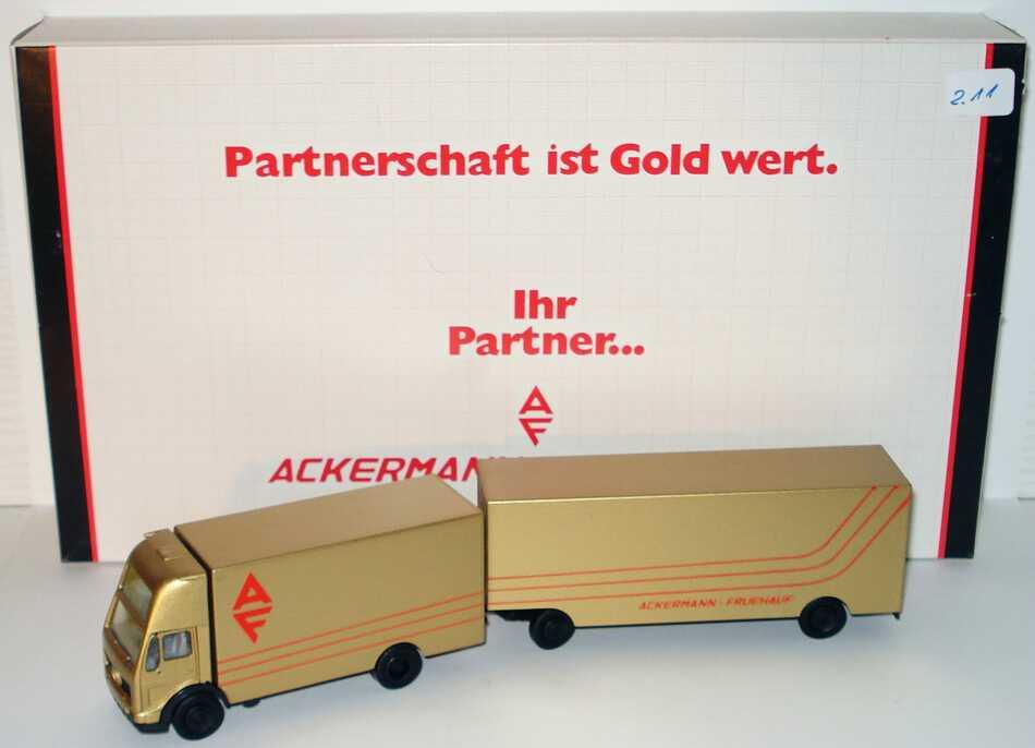 """1:87 Mercedes-Benz (K) Topsleeper MöbeltransportHgz 2/2 """"AF Ackermann - Fruehauf, Partnerschaft ist Gold wert.""""  (AF Werbeverpackung)"""