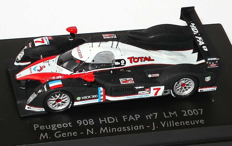 "1:87 Peugeot 908 HDi FAP LeMans 2007 ""Total"" Nr.7, Gene / Minassian / Villeneuve"