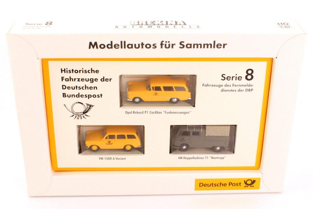"1:87 Post-Set Serie 8 ""Fahrzeuge des Fernmeldedienstes der DBP"" (Opel Rekord P1 CarAVan Funkmesswagen + VW 1500 A Variant + VW T1 Doka Bautrupp)"