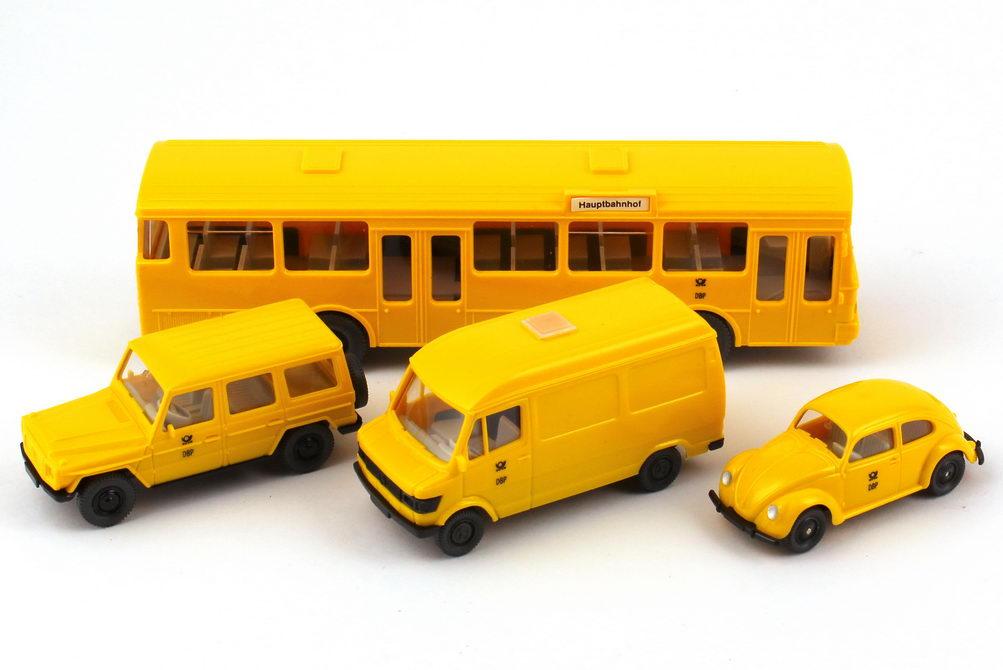 1:87 Post Museums Shop Setpackung 1991 Postreklame (230GE schwarze Radkappen + 207D + Brezelkäfer + O 305)