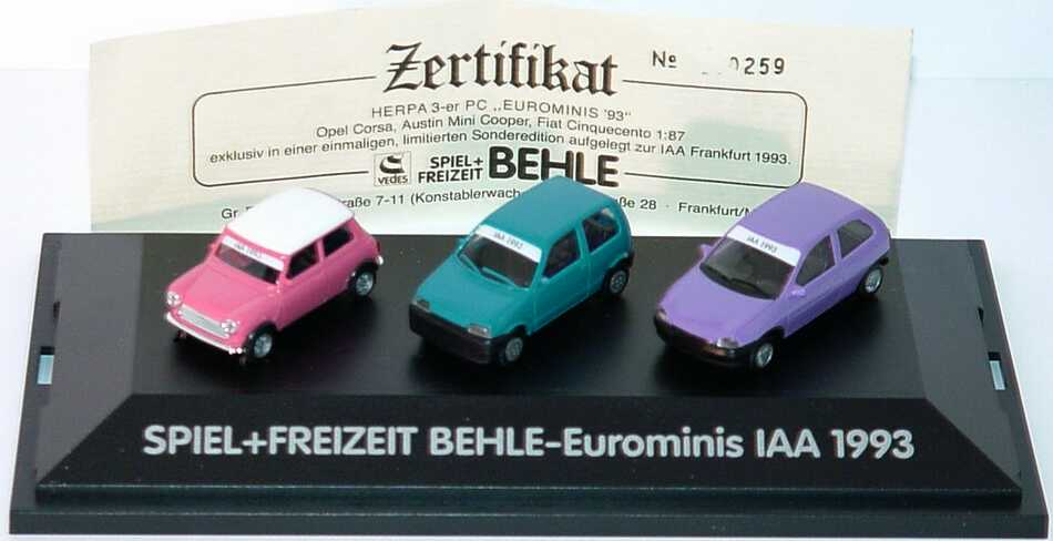 1 87 spiel freizeit behle eurominis iaa 1993 mini cooper pink fiat cinquecento t rkis opel. Black Bedroom Furniture Sets. Home Design Ideas