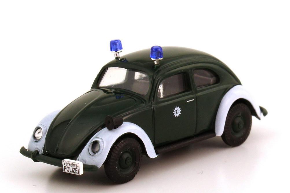 VW Käfer (ovales Heckfenster) Verkehrspolizei dunkelgrün/weiß Busch ...