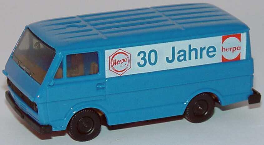 """1:87 VW LT 28 Kasten blau """"30 Jahre Herpa, AutoMarkt ´79"""", IA beige"""