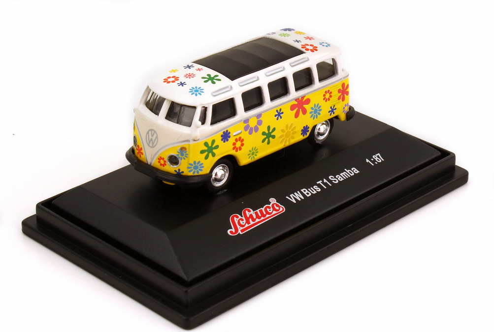 vw t1 bus samba hippie flower power wei gelb schuco 21887 bild 3. Black Bedroom Furniture Sets. Home Design Ideas